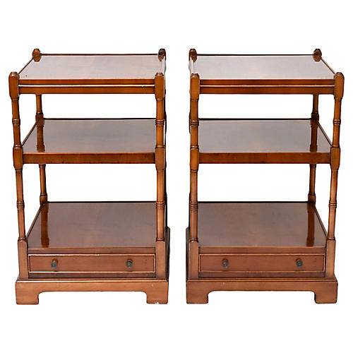 Burl-Wood Side Tables, Pair