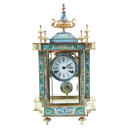 Mid-20th Century Glass Case Mantel Clock