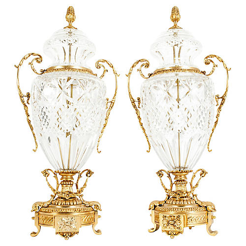 Gilt Bronze-Mounted / Cut Crystal Urns