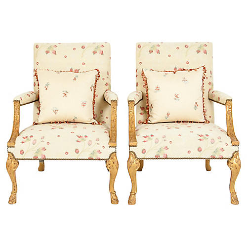 Pair Mid 20th Century Gilt Wood Armchair