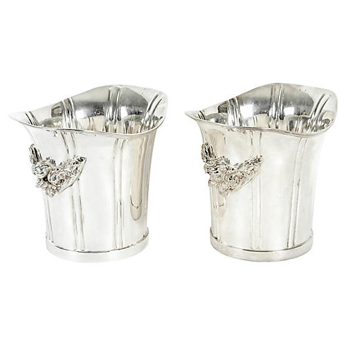 English Silver Plated Ice Bucket, Pair