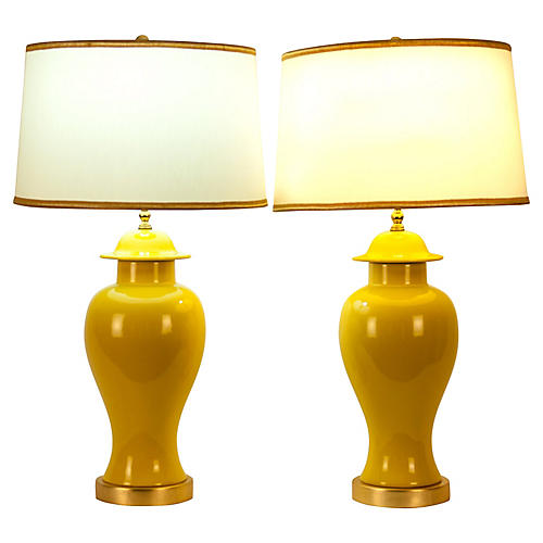 Table Lamps w/ Gilt Base, Pair