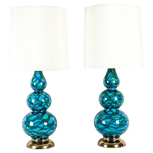 Porcelain Table Lamp w/ Brass Base