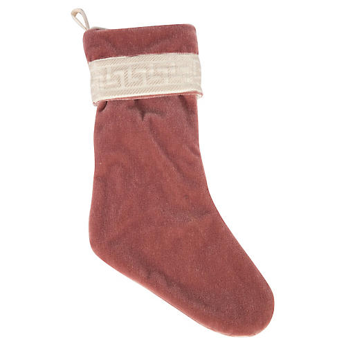 Dusty Rose Mohair & Greek Key Stocking