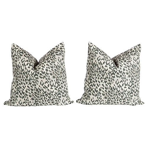 Charcoal Gray Linen Leopard Pillows Pair
