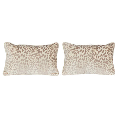 Pearl Velvet Cheetah Lumbar Pillows, S/2