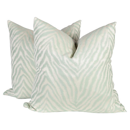 Sea Foam Sheen Zebra Pillows, Pair