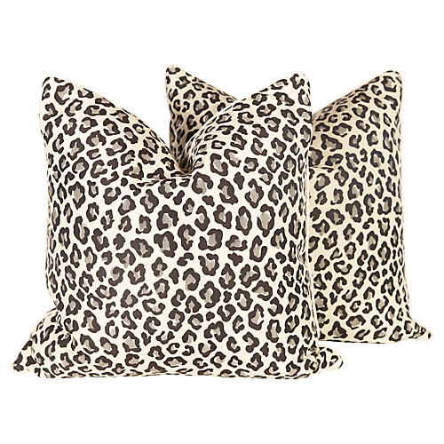 Black and Grey Leopard Pillows, Pair