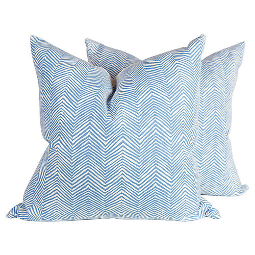 Blue Zigzag Pillows, Pair
