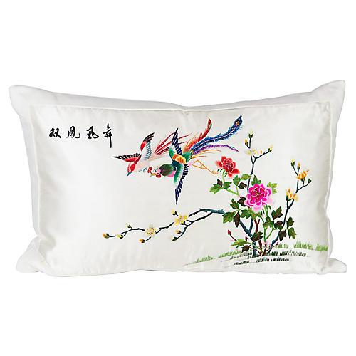 Silk and Linen Chinoiserie Lumbar Pillow