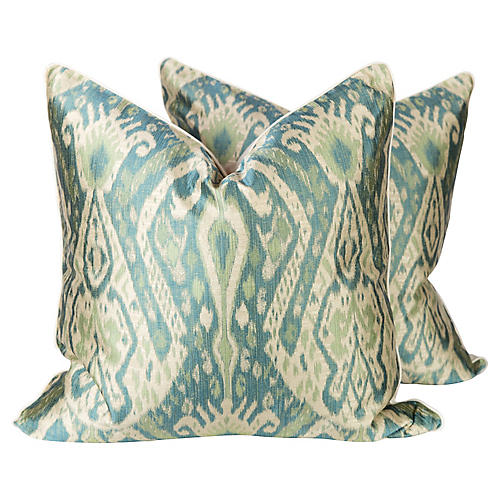Green and Teal Sateen Ikat Pillows, Pr