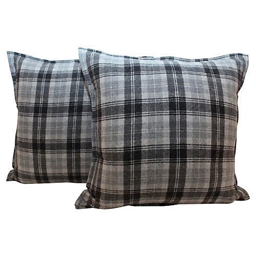 Charcoal Plaid Wool Fairfax Pillows, Pr