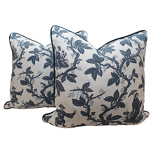 Scalamandré Toile Pillows, Pair