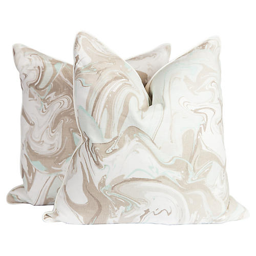 Marble Linen Swirl Pillows, Pair