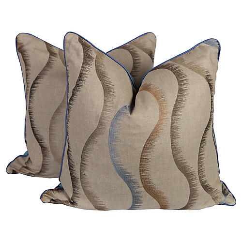 Velvet Embroidered Swirl Pillows, Pair
