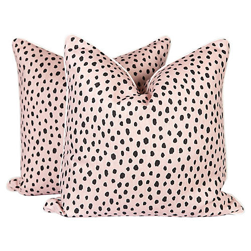 Blush Tanzania Spotted Pillows, Pair