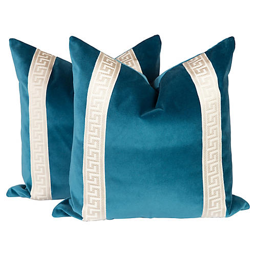 Peacock Blue Velvet Greek Key Pillows