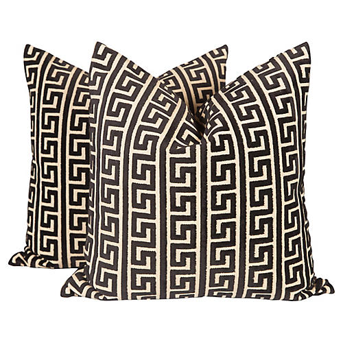Velvet Greek Key Pillows, Pair