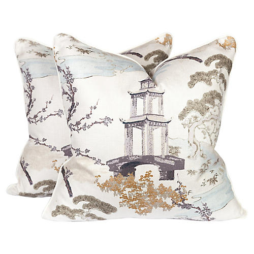 Chinoiserie Pagoda Toile Pillows, Pr