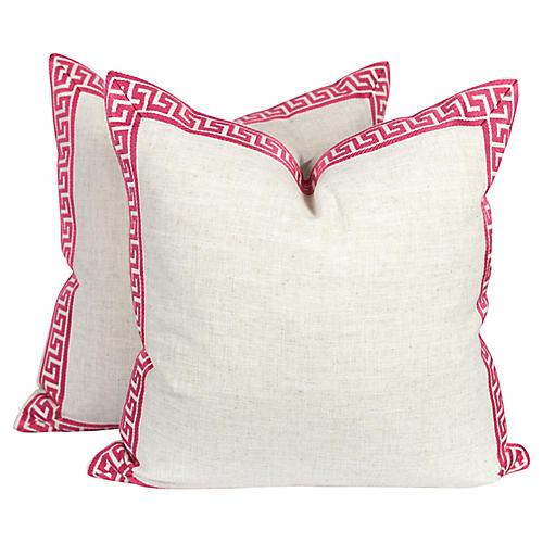 Ivory & Pink Greek Key Pillows, Pair
