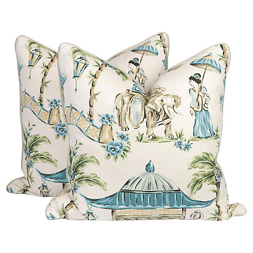 Teal Chinoiserie Bazaar Pillows, Pair