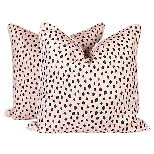 Tanzania Linen Spotted Pillows, Pair