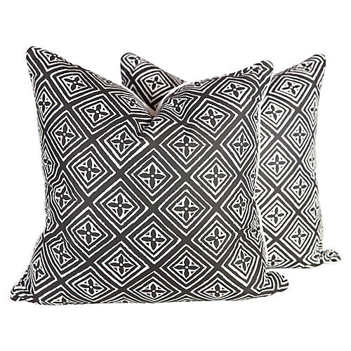 Black & Ivory Silk Fiorentina Pillows