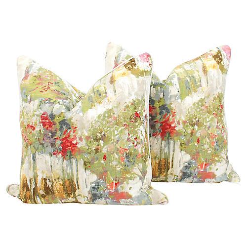 Abstract Watercolor Pillows, Pair