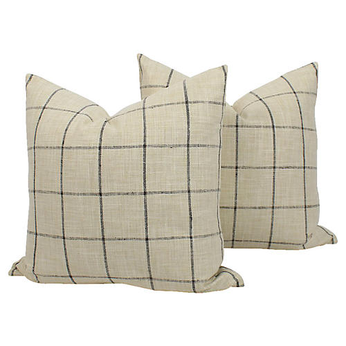 Plaid Linen-Blend Riley Pillows, Pair