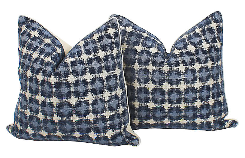 Blue Ikat Geometric Pillows, Pair
