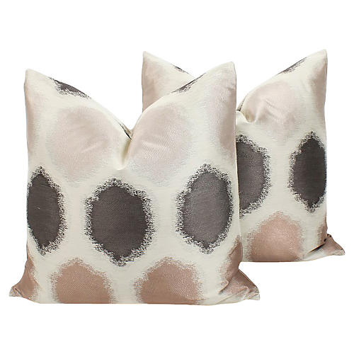 Blush & Gray Geo Sateen Pillows, Pair