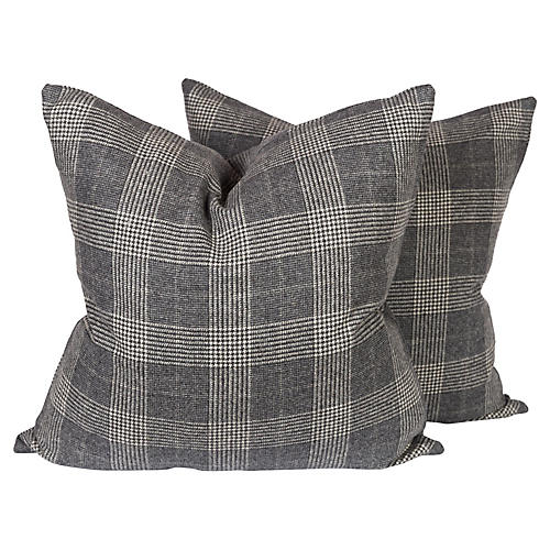 Gray Houndstooth Check Pillows, Pair