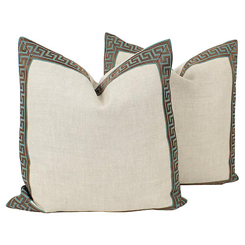 Teal & Oatmeal Greek Key Pillows, Pair
