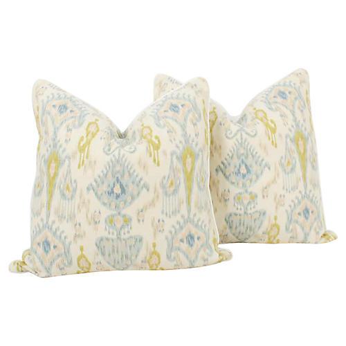 Blue & Citrine Linen Ikat Pillows, Pair