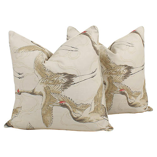 In Flight Linen Bird Pillows, Pair