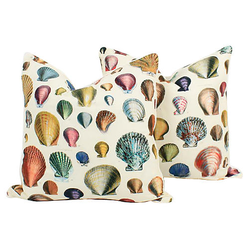 Seashell Bookplate Pillows, Pair