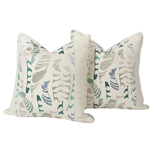 Silk-Embroidered Feather Pillows, Pair