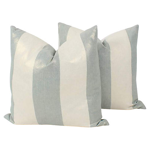 Shimmer Blue Linen Stripe Pillows, Pr