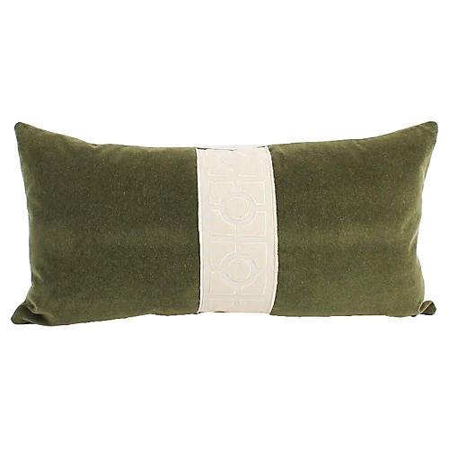 Olive Green Mohair Lumbar Pillow