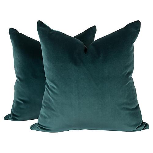 Peacock Blue Velvet Pillows, Pair