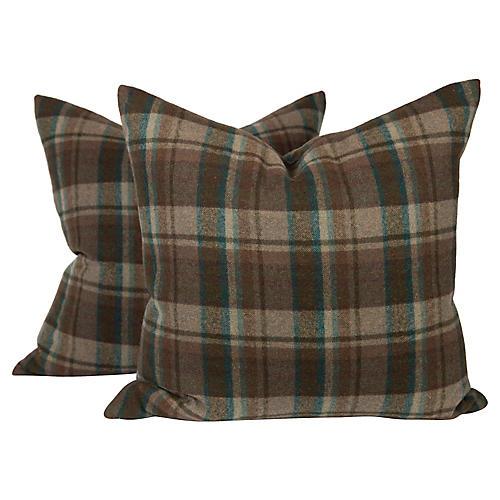 Plaid Brown Wool Charlton Pillows, Pair