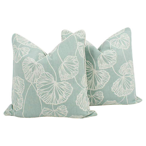 Light Turquoise Ginkgo Leaf Pillows, Pr
