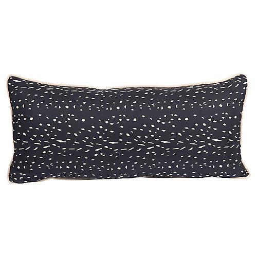 Black & Cream Silk Spotted Lumbar Pillow