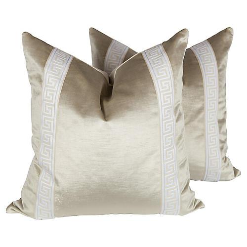 Pearl Velvet Greek Key Pillows, Pair