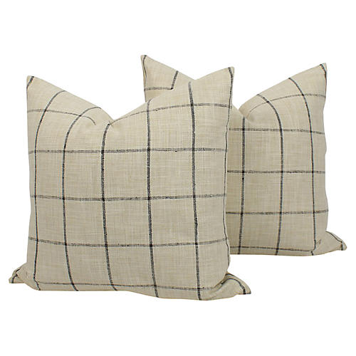 Plaid Linen-Blend Riley Pillows, Pair