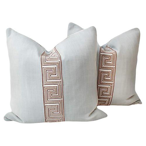 Mint Linen Greek Key Pillows, Pair