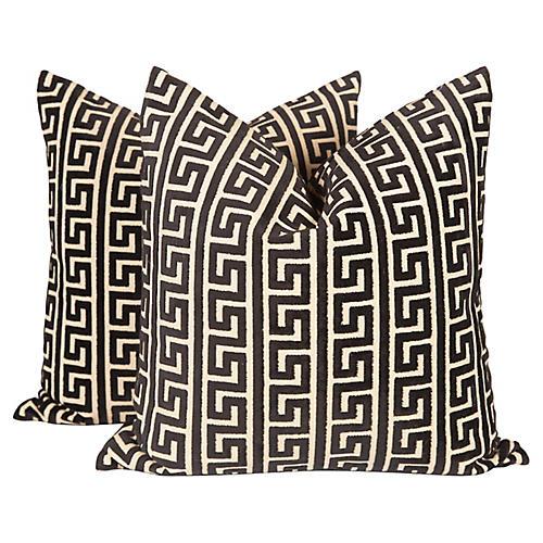Velvet Greek Key Pillows, Pair