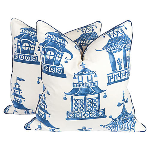 Blue & Ivory Chinoiserie Pillows, Pair