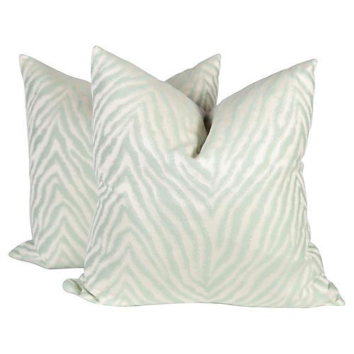 Light Green Sateen Zebra Pillows, Pair
