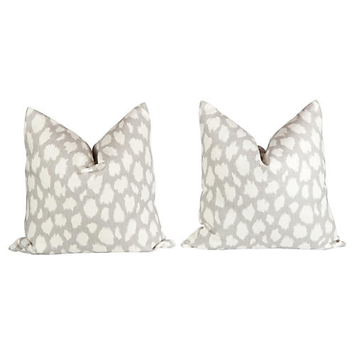 Linen Leopard Leokat Pattern Pillows, Pr